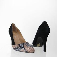 3c3f4d20660 Women s Shoes of Prey Black Suede Leather Snakeskin Pointed Toe Pumps Sz 38  NEW