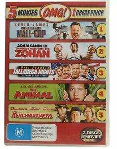 5 Movies MALL COP - ZOHAN - TALLADEGA NIGHTS THE ANIMAL - BENCHWARMERS DVD