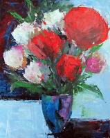 FLOWERS CONTEMPORARY MODERN IMPRESSIONISM ART ORIGINAL PAINTING ANNE THOUTHIP