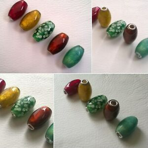 Glass Tube, or Barrel Beads 28mm x 15mm, with Gold Leaf