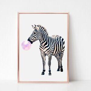 zebra print PICTURE Bubble gum  WALL ART A4  unframed 503 animal safari