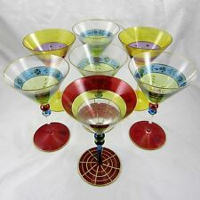 Hand Painted Martini Glasses Romanian Glass Roscher & Co Three Patterns 7 Pieces