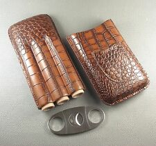 New COHIBA Brown Genuine Leather Cigar Case Cigar Cutter Set Holds 3 Cigars