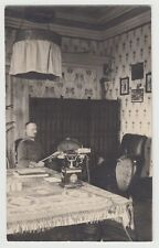 PC WWI Germany German Officer Reading Newspaper Great Old Phone Photo Postcard