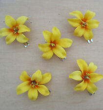 """5 Piece Lot Small  2"""" Canary Lily Silk Flowers Hair  Clip, Prom,Wedding, Dance"""