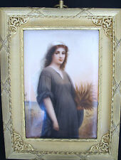 German Porcelain Plaque - Ruth - bronze frame signed 1850-1899 (#235)