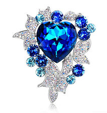 Heart of Oceans Royal Blue Luxury Crystal Diamante Big Corsage Brooch Pin BR193