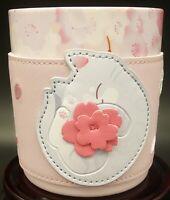 New 2020 Starbucks China Sakura Pink Siren-logo Porcelain Cup w/ Cat Cozy Sleeve