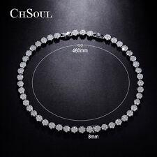 Women Flower Design CZ Statement Bib Chain Necklace Gold Plated Bridal Jewelry