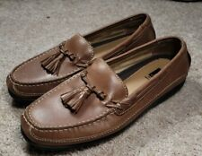 J&M Johnston Murphy-Brown Leather, Mens Tasseled Driving Moccasin Shoes-(8.5 W)