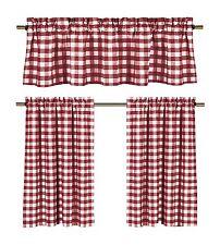 lovemyfabric Gingham Checkered Plaid Design 3-Piece Kitchen Valance-Red