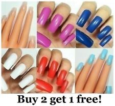 Long False 20pc Full Cover Nails Fake Acrylic Glue on Square Tips Art Usa!