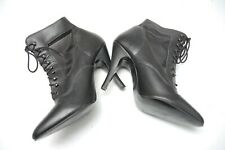 """HANDMADE BLACK LEATHER 4.5"""" STILETTO HEEL LACE-UP ANKLE BOOTS, UK 9"""
