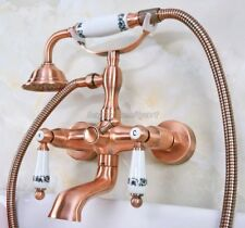 Antique Red Copper Brass Wall Mounted Bathroom Clawfoot Tub Faucet Taps yna329