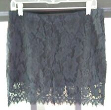 BB Dakota Sz 10-Black Lace Mini Skirt-Back Zip-Lined  Length:16""