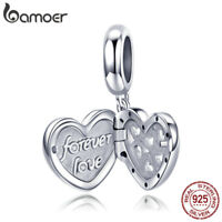 BAMOER 925 Sterling Silver Charm FOREVER LOVE Dangle With clear CZ Fit bracelet