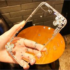 Luxury Bling Glitter Flower Diamond Case Sparkle Crystal Clear Back Phone Cover