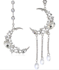 NEW Big Crescent Moon Crystal Celestial Statement Party Asymmetric Earrings