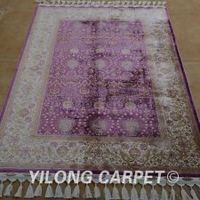 YILONG 3.5'x5' Persian Handmade Silk Rugs Hereke Purple Elegant Carpets 1768