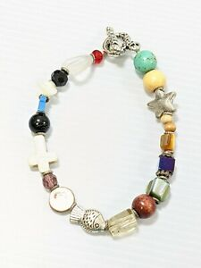 "Artisan Silver tone Colorful Glass Wood Stone Bead Star Cross Fish Bracelet 8.5"""
