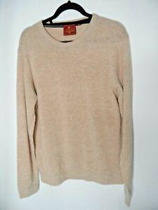 SKOPES Mens Lambswool Blend Jumper Size XL Beige Long Sleeved Pullover