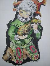 Vintage Original Painting Child Court Jester Orange Tabby Cat Big Eyes Art