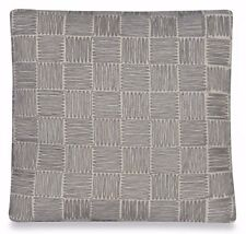 UPSTAIRS DRANSFIELD ROSS ANTIGUA SQUARE THROW PILLOW GREY BASKETWEAVE APPLIQUE