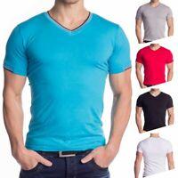 Herren T-Shirt V-Ausschnitt kurzarm stretch shirt Slim Fit Oberteil Jersey