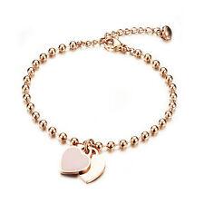 Edelstahl IP Rose Gold Armband 21cm Armkette Herz Anhänger Damen Schmuck - S807