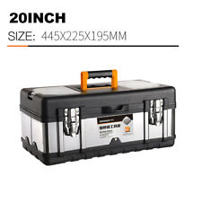 Multifunctional portable storage box, stainless steel tool box cover, 20 inch