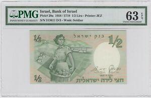 1958  ISRAEL 1/2 LIRA   P29a PMG 63 EPQ   UNC