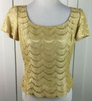 Carmen Marc Valvo Marigold Metallic Blouse Lace Short Sleeve Scallop Trim Size 8