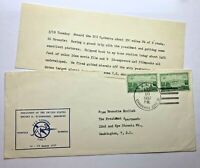 RARE 1957 USS CANBERRA WITH DWIGHT D. EISENHOWER ON BOARD COVER WITH LETTER
