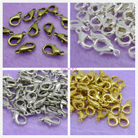 100pcs Silver Plated Lobster Clasps Gold Bronze Black 10/12/14mm free shipping