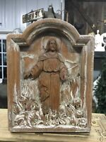 ANTIQUE WOODEN CARVING JESUS SHADOWBOX FINELY DETAILED RELIGIOUS