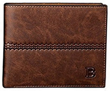 Men's Baellerry Trifold Synthetic Leather Wallet Brown (B)