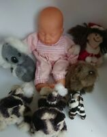 Mixed Lot 7 x Stuffed Soft Toys & Dolls Cat Koala Animals