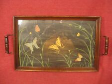 VINTAGE BUTTERFLY PRINT WOOD FRAMED SERVING  TRAY WITH GLASS   18 X 11