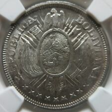 BOLIVIA 50 centavos 1899 PTS MM NGC MS 63 UNC