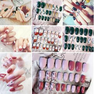 24 Pcs False Nails Fake Fingernails Acrylic Nail Art Salon DIY Multi Color style