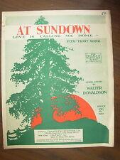 Vintage sheet music-au coucher du soleil-quand l'amour m'appelle accueil-fox-trot song
