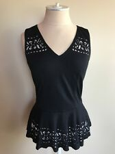 Cache Women's Black Sleeveless Laser Cut Peplum Shirt Size XS