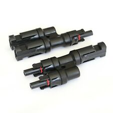 Pair of T-branch T4 connectors for solar panels and PV systems