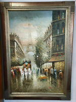 THE EIFFEL TOWER PAINTING - Oil on canvas, High Quality Vintage Frame