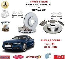 Para Audi A5 Coupe 2.7 TDI 2012 - > en la parte delantera + Discos De Freno Trasero & Kit De Montaje Pastillas +