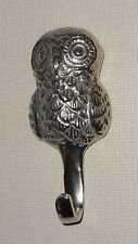GORGEOUS  SILVER METAL CHROME OWL WALL HANGING HOOK FROM JOHN LEWIS  - NEW!