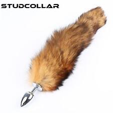STUDCOLLAR-FUR-BUTT-PLUG - Fluffy Fox Cat Tail With Polished Butt Plug