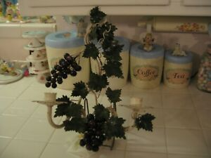 Vintage Italian Italy Tole Shabby Metal Wall Double Candle Sconce With Grapes