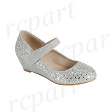 New girl's formal dress wedding close toe shoes wedge rhinestones Silver