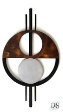 Geometric Abstract Wood Metal Wall sculpture, Contemporary Brown Wall Art 38x22